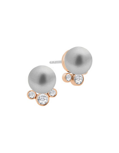 Michael Kors Pearl Stud Earrings-GREY-One Size