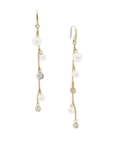 Michael Kors Beaded Crystal and Linear Earrings-WHITE-One Size