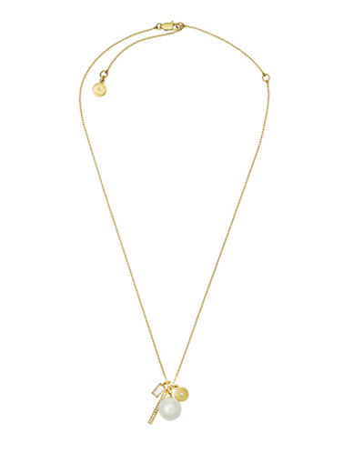 Michael Kors Beaded Crystal and Charm Peal Pendant Necklace-WHITE-One Size