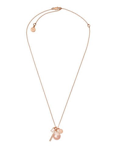 Michael Kors Beaded Crystal and Charm Peal Pendant Necklace-BLUSH-One Size