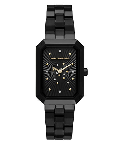 Karl Lagerfeld Paris Linda Rectangular Black IP Bracelet Watch-BLACK-One Size