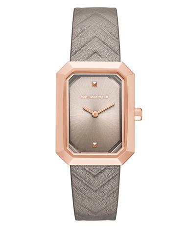 Karl Lagerfeld Paris Linda Rose Goldtone Leather Strap Watch-GREY-One Size