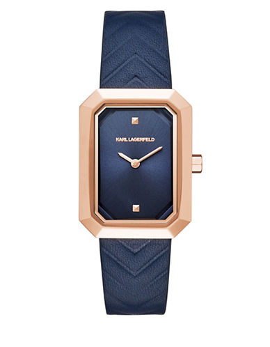 Karl Lagerfeld Paris Linda Rose Goldtone Leather Strap Watch-BLUE-One Size