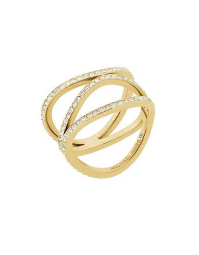 Michael Kors Wonderlust Crystal Goldtone Open Ring-GOLD-7