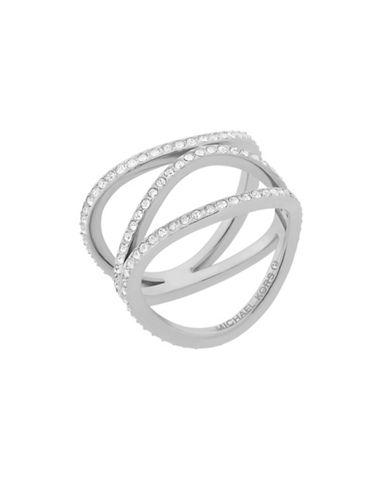 Michael Kors Wonderlust Crystal Silvertone Open Ring-SILVER-7