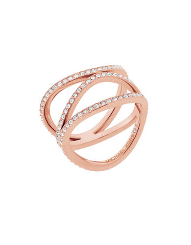 Michael Kors Wonderlust Crystal Rose-Goldtone Open Ring-ROSE GOLD-7