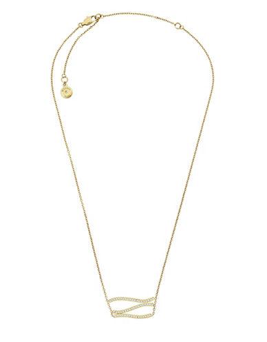 Michael Kors Wonderlust Crystal Goldtone Wavy Pendant Necklace-GOLD-One Size