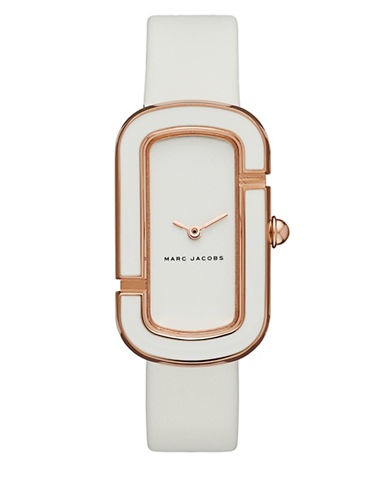 Marc Jacobs Analog the Jacobs White Leather Strap Watch-WHITE-One Size