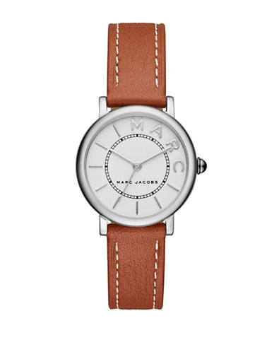 Marc Jacobs Roxy Stainless Steel Leather Strap Watch-BROWN-One Size
