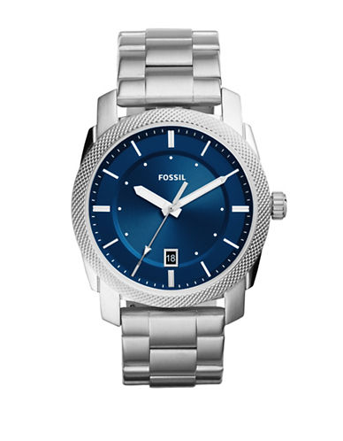 Fossil Analog Casual Machine Stainless Steel Bracelet Watch-SILVER-One Size