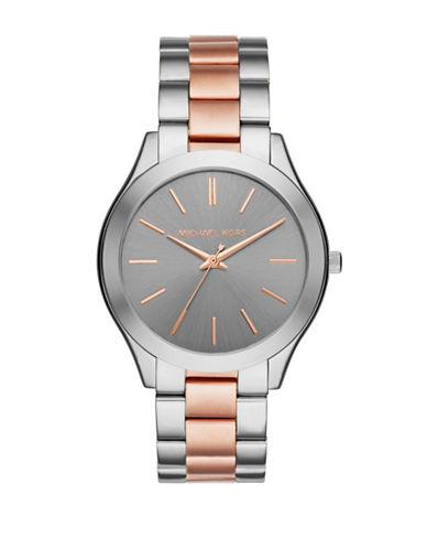 Michael Kors Analog Slim Runway Rose-Goldtone & Stainless Steel Bracelet Watch-MULTI-One Size