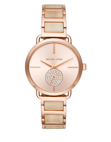 Michael Kors Chronograph Portia Pave Goldtone Bracelet Watch-ROSE GOLD-One Size