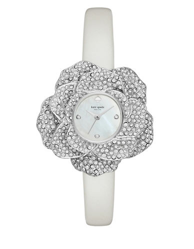 Kate Spade New York Analog Rose-Shaped Case White Leather Strap Watch-WHITE-One Size