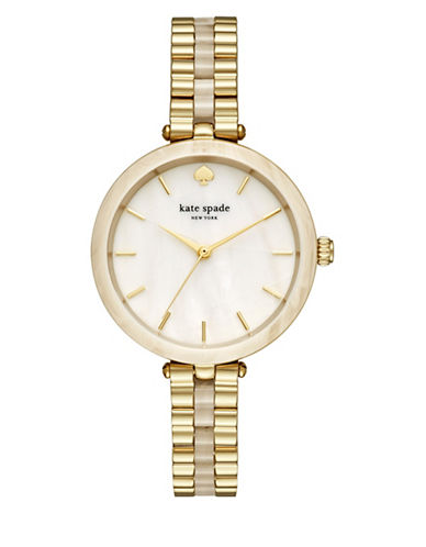Kate Spade New York Analog Holland Acetate and Goldtone Bracelet Watch-GOLD-One Size