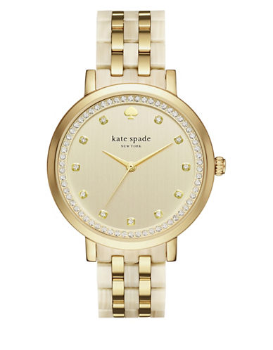 Kate Spade New York Analog Monterey Goldtone and Acetate Bracelet Watch-GOLD-One Size