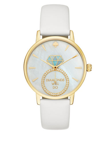Kate Spade New York Analog Metro Diamonds Will Do White Leather Strap Watch-WHITE-One Size