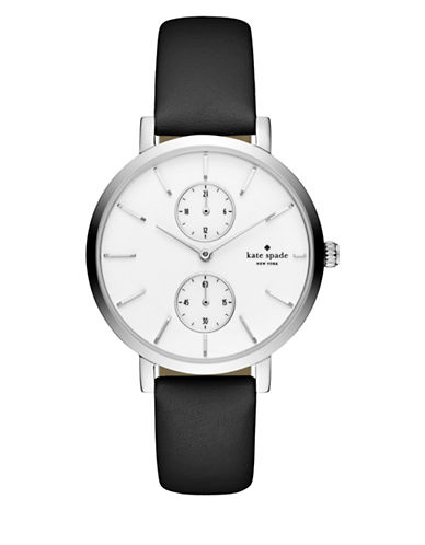 Kate Spade New York Chronograph Monterey Stainless Steel Leather Strap Watch-BLACK-One Size