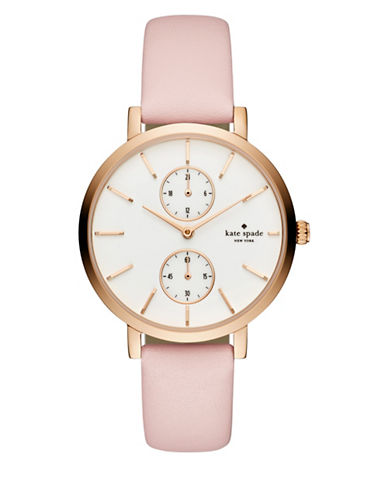 Kate Spade New York Chronograph Monterey Rose-Goldtone Leather Strap Watch-PINK-One Size