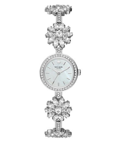 Kate Spade New York Analog Daisy Chain Crystal Bracelet Watch-SILVER-One Size