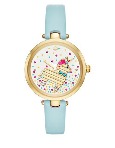 Kate Spade New York Analog Critter Holland Goldtone Leather Strap Watch-BLUE-One Size