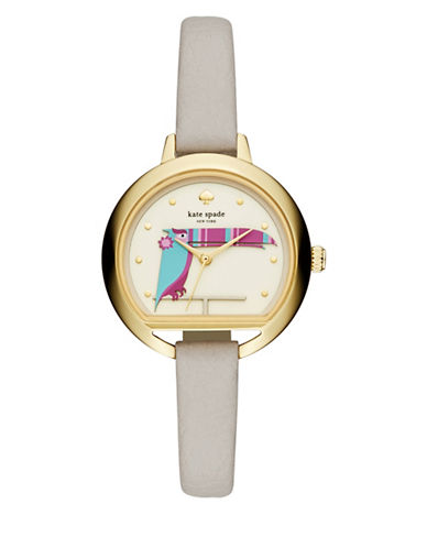 Kate Spade New York Analog Critter Fish Bowl Goldtone Leather Strap Watch-GREY-One Size