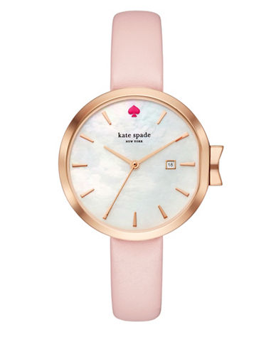 Kate Spade New York Analog Park Row Pink Leather Strap Watch-BEIGE-One Size