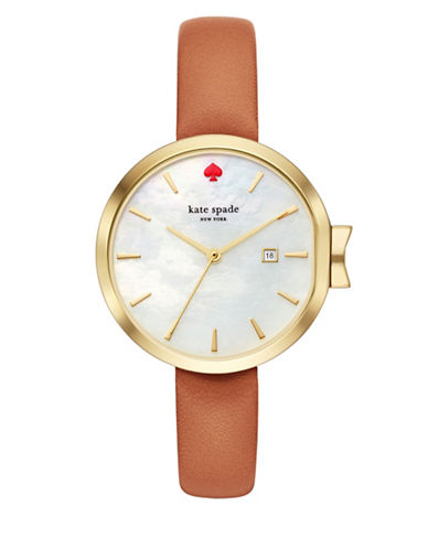 Kate Spade New York Analog Park Row Luggage Leather Strap Watch-BROWN-One Size