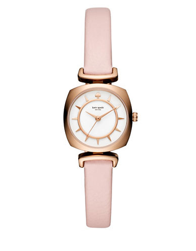 Kate Spade New York Analog Barrow Nude Leather Strap Watch-BEIGE-One Size
