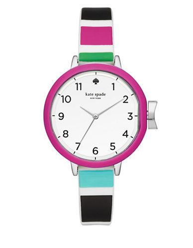 Kate Spade New York Analog Park Row Striped Silicone Strap Watch-MULTI-One Size
