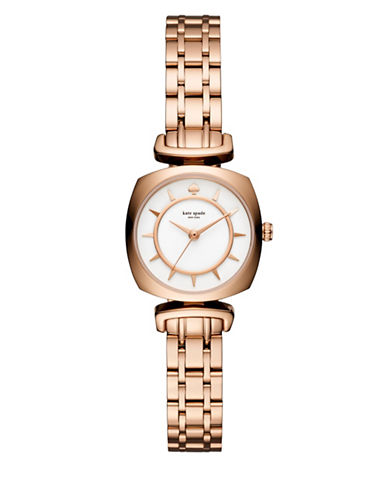Kate Spade New York Analog Barrow Rose-Goldtone Stainless Steel Bracelet Watch-GOLD-One Size