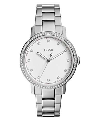 Fossil Analog Neely Embellished Three-Hand Quartz Bracelet Watch-SILVER-One Size