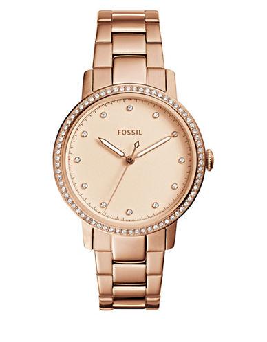 Fossil Analog Neely Embellished Three-Hand Quartz Bracelet Watch-ROSE GOLD-One Size