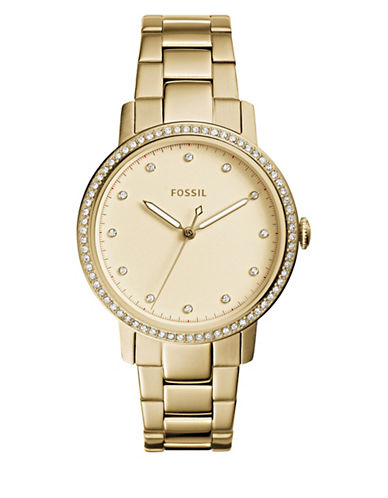 Fossil Analog Neely Embellished Three-Hand Quartz Bracelet Watch-GOLD-One Size