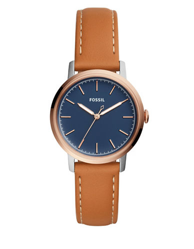 Fossil Analog Neely Goldtone Leather Strap Watch-BROWN-One Size