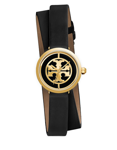 Tory Burch The Reva Goldtone Stainless Steel Double-Wrap Leather Strap Watch-BLACK-One Size