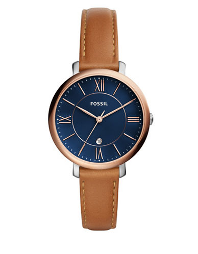 Fossil Jacqueline Analog Leather Strap Watch-BROWN-One Size