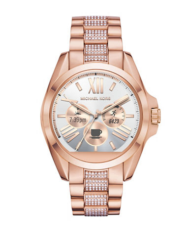Michael Kors Touchscreen Goldtone and Pave Bracelet Smartwatch-ROSE GOLD-One Size