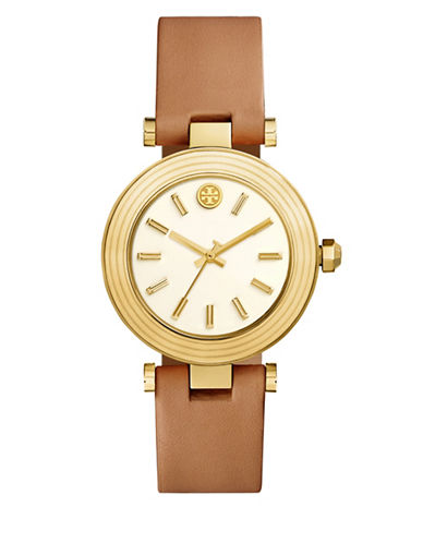 Tory Burch The Classic T Luggage Leather Gold-Tone Watch-BROWN-One Size