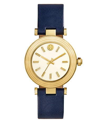 Tory Burch The Classic T Navy Leather Gold-Tone Watch-BLUE-One Size