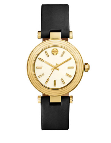 Tory Burch The Classic T Black Leather Gold-Tone Watch-BLACK-One Size
