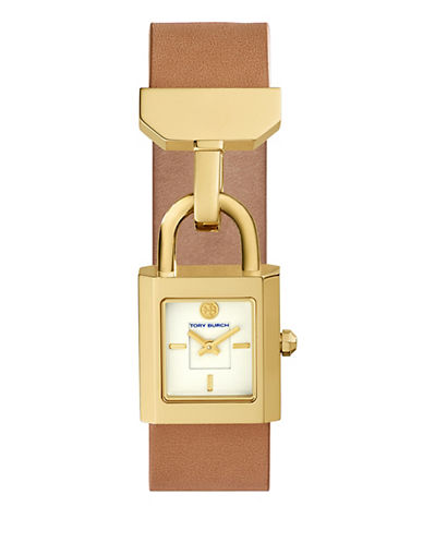 Tory Burch The Surrey Luggage Leather Gold-Tone Watch-BROWN-One Size