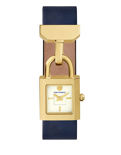 Tory Burch The Surrey Navy Leather Gold-Tone Watch-BLUE-One Size