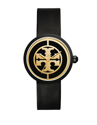 Tory Burch The Reva Luggage Goldtone Black Leather Watch-BLACK-One Size