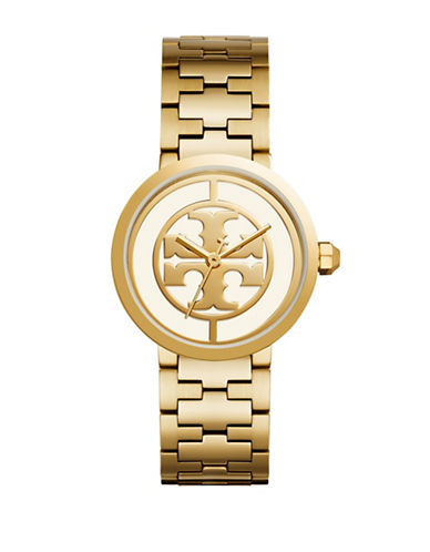 Tory Burch The Reva Goldtone Stainless Steel Link Bracelet Watch-GOLD-One Size