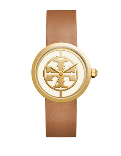Tory Burch The Reva Luggage Goldtone Leather Watch-BROWN-One Size