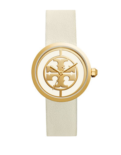 Tory Burch The Reva Luggage Goldtone White Leather Watch-WHITE-One Size