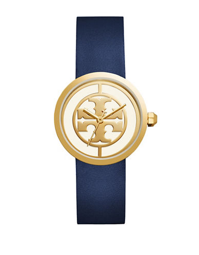Tory Burch The Reva Luggage Goldtone Navy Leather Watch-BLUE-One Size