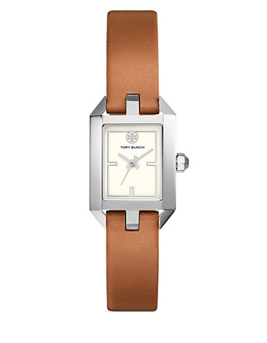 Tory Burch The Dalloway Luggage Leather Silver-Tone Watch-BROWN-One Size