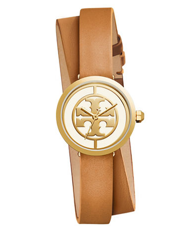 Tory Burch The Reva Goldtone Stainless Steel Double-Wrap Leather Strap Watch-BROWN-One Size