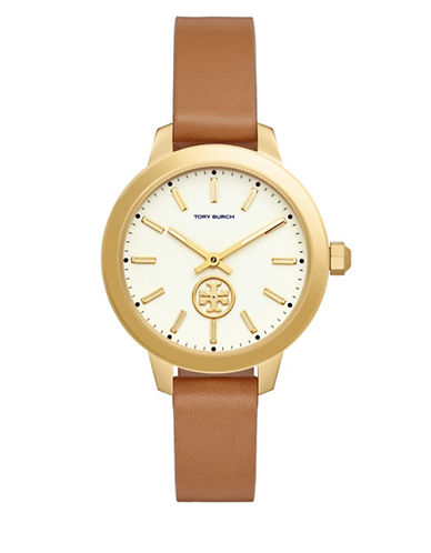 Tory Burch Collins Goldtone Stainless Steel Leather Strap Watch-BROWN-One Size